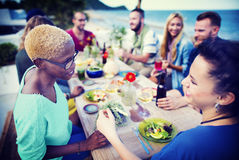 Beach Cheers Celebration Friendship Summer Fun Dinner Concept Royalty Free Stock Images