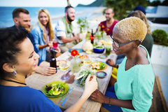 Beach Cheers Celebration Friendship Summer Fun Dinner Concept Stock Photos