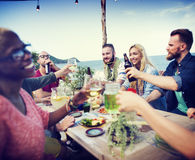Beach Cheers Celebration Friendship Summer Fun Dinner Concept Royalty Free Stock Photos