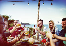 Beach Cheers Celebration Friendship Summer Fun Dinner Concept Stock Image
