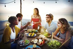 Beach Cheers Celebration Friendship Summer Fun Dinner Concept Stock Images