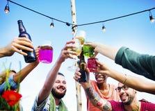Beach Cheers Celebration Friendship Summer Fun Dinner Concept Royalty Free Stock Image