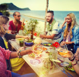 Beach Cheers Celebration Friendship Summer Fun Dinner Concept Royalty Free Stock Image