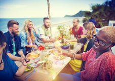 Beach Cheers Celebration Friendship Summer Fun Dinner Concept Stock Photography