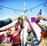 Beach Cheers Celebration Friendship Summer Fun Dinner Concept Royalty Free Stock Photography