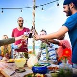 Beach Cheers Celebration Friendship Summer Fun Dinner Concept Stock Images