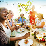 Beach Cheers Celebration Friendship Summer Fun Dinner Concept. Beach Cheers Celebration Friendship Summer Fun Royalty Free Stock Image