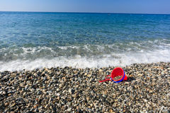 Beach and child bucket Stock Photos