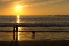 Beach Children and Dog at Sunset Silgouette Stock Photography