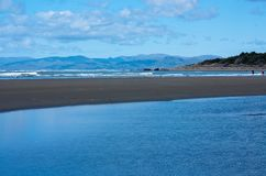 On a beach in Christchurch in New Zealand stock image