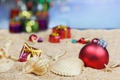 Beach Christmas decorations stock image