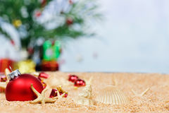 Beach Christmas ornaments Stock Photos