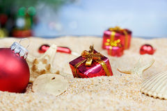 Beach Christmas ornaments Royalty Free Stock Image