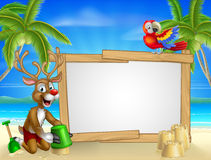 Beach Christmas Santas Reindeer Stock Photo