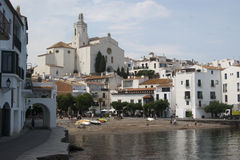 The beach and church of Cadaques Catalunya Spain Royalty Free Stock Image