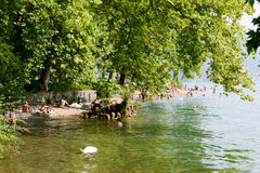 The The beach of Ciani botanical park at Lugano on Switzerland Royalty Free Stock Photo