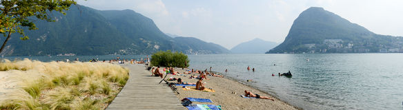 The beach of Ciani botanical park at Lugano on Switzerland Stock Photo