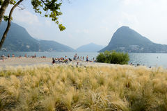 The beach of Ciani botanical park at Lugano on Switzerland Royalty Free Stock Photos
