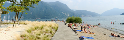 The beach of Ciani botanical park at Lugano on Switzerland Stock Photos