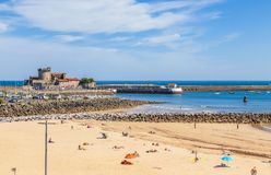 Beach of Ciboure and Fort Socoa royalty free stock images