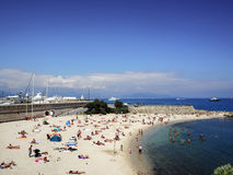 Beach of the city of Antibes Royalty Free Stock Photo