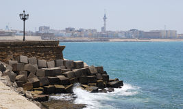 Beach and city of Cadiz Royalty Free Stock Images