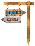 Beach and City - Directional Signs. Wooden directional sign with two arrows in opposite direction hanging with metal chain a wooden pole, with text beach and Stock Photo