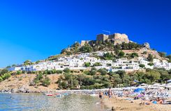 Beach in the city of Lindos. Rhodes Island. Greece Royalty Free Stock Image