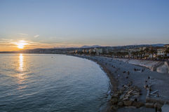 Beach in city of Nice Stock Photography