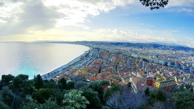 Beach in City of Nice in sunny summer day. Beautiful panoramic aerial view of beach in City of Nice in sunny summer day. Cote d`Azure, France. City of Nice is a stock video footage