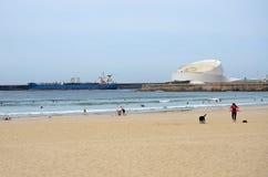 Beach in the city of Porto next to the tourist cruise terminal Stock Image