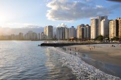 Beach city. Sunset beautiful day Royalty Free Stock Photo