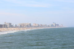 Beach. City and beach view from the pier in ocean city Maryland usa Royalty Free Stock Photos