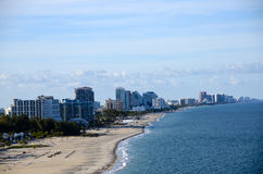 Beach and Cityscape of Fort Lauderdale, Florida Stock Image