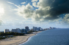 Beach and Cityscape of Fort Lauderdale, Florida Royalty Free Stock Photo