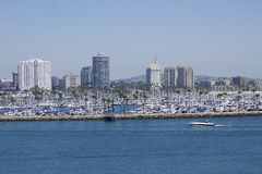 Beach Cityscape. Long Beach California cityscape view from the Queen Mary Royalty Free Stock Photography