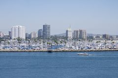 Beach Cityscape. Long Beach California cityscape view from the Queen Mary Stock Image