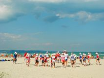 Beach classes taekwondo. Royalty Free Stock Images