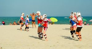 Beach classes taekwondo. Royalty Free Stock Photos