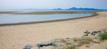 The beach with clean sand in Busan South Korea Royalty Free Stock Photo