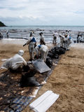 Beach cleaning operation, Rayong, Thailand 2 Royalty Free Stock Image