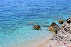 Beach with clear blue sea Stock Images