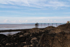 The beach at Clevedon, Somerset, England. View of the beach at Clevedon, Somerset, England Stock Image