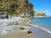 Beach and cliff. In the marine reserve of Cerb�re Banyuls Royalty Free Stock Image