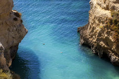 Beach cliff. In Algarve, Portugal Stock Photos