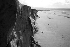 Beach cliff in B&W Stock Image