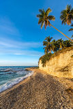 Beach cliff near Barahona with tropical sea and sandy front Royalty Free Stock Image
