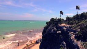 Beach Cliff Overlook Windy Palms stock footage