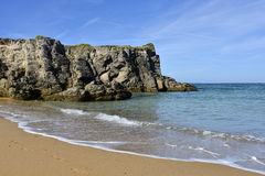 Beach and cliff at Quiberon peninsula in France Stock Photos