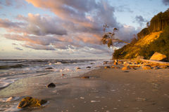 Beach and cliff in Wolin National Park in the light of the wonderful sunset Royalty Free Stock Images
